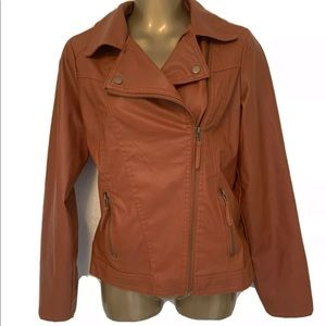 Miss Lili Brown Faux Leather Zip Front Jacket